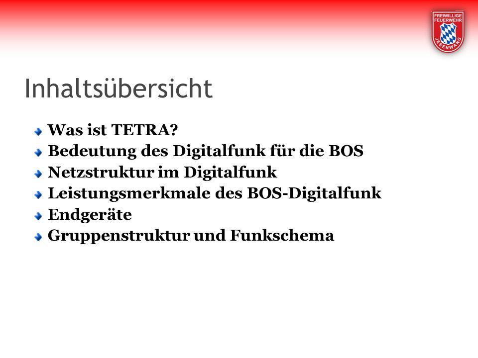 Inhaltsübersicht Was ist TETRA Bedeutung des Digitalfunk für die BOS