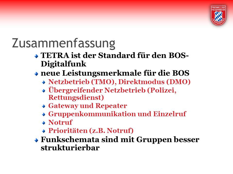 Zusammenfassung TETRA ist der Standard für den BOS- Digitalfunk