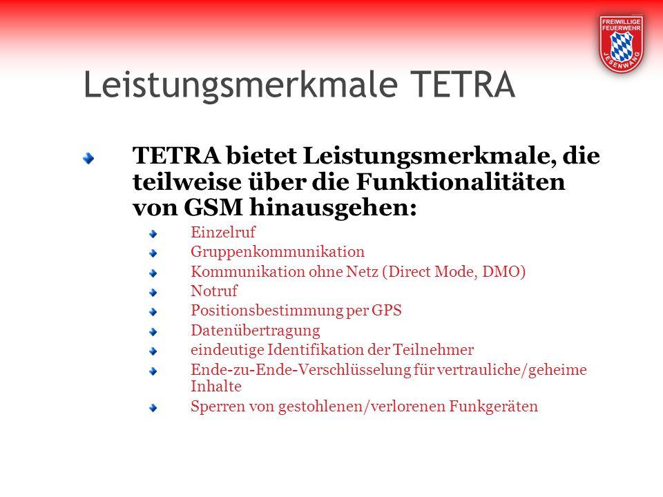 Leistungsmerkmale TETRA
