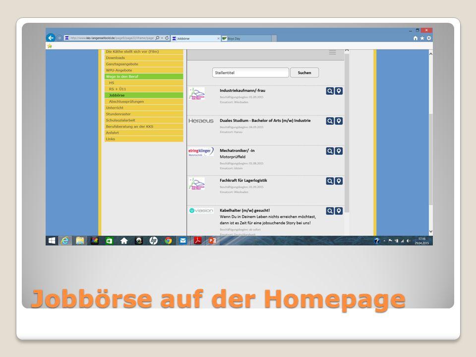Jobbörse auf der Homepage