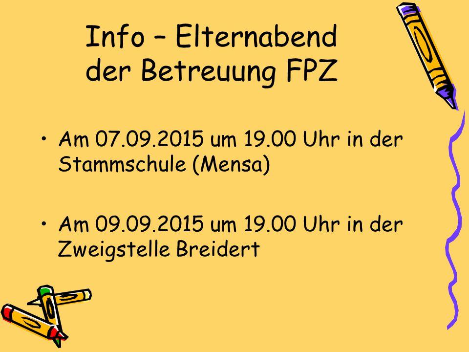 Info – Elternabend der Betreuung FPZ