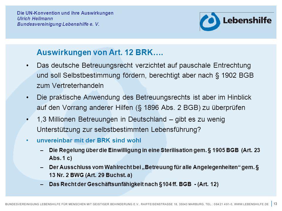 Auswirkungen von Art. 12 BRK….