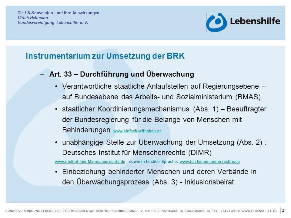 Instrumentarium zur Umsetzung der BRK
