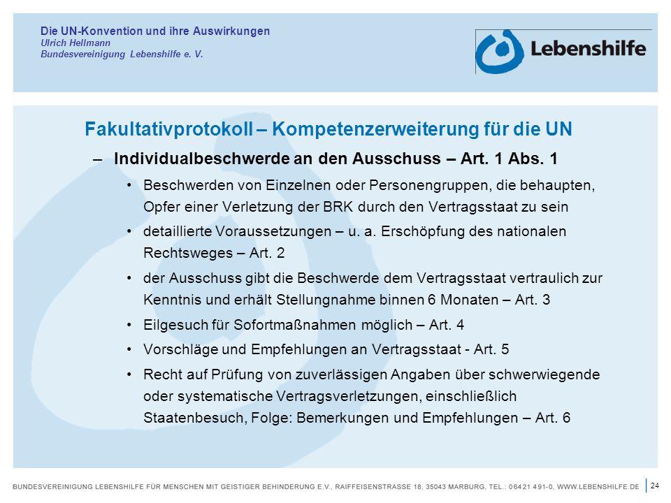 Fakultativprotokoll – Kompetenzerweiterung für die UN