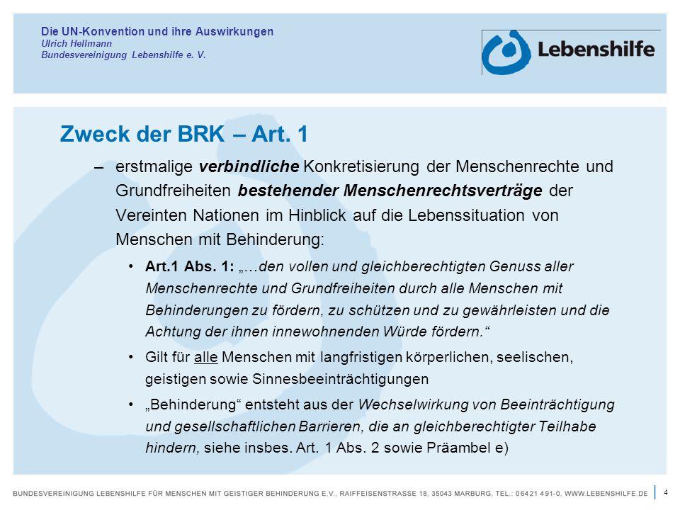 Die UN-Konvention und ihre Auswirkungen Ulrich Hellmann Bundesvereinigung Lebenshilfe e. V.