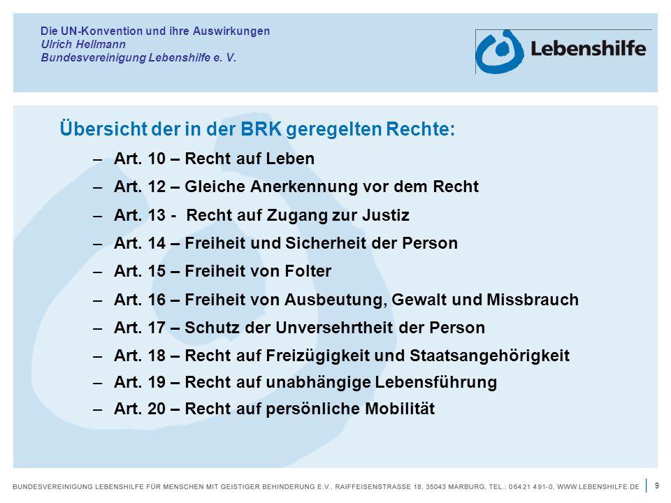 Übersicht der in der BRK geregelten Rechte: