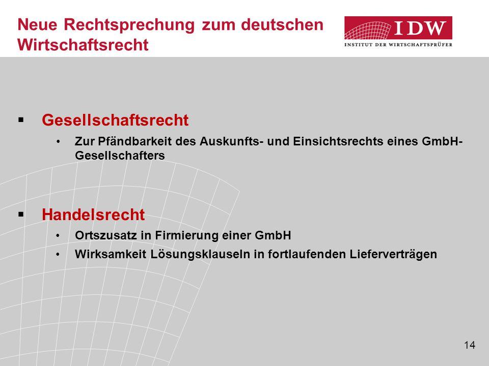 Neue Rechtsprechung zum deutschen Wirtschaftsrecht