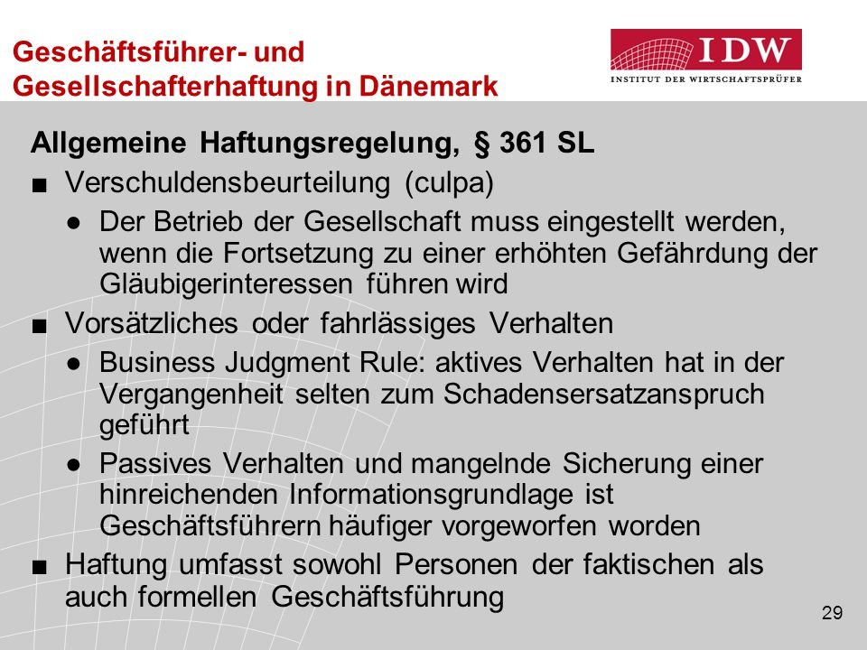 Allgemeine Haftungsregelung, § 361 SL Verschuldensbeurteilung (culpa)