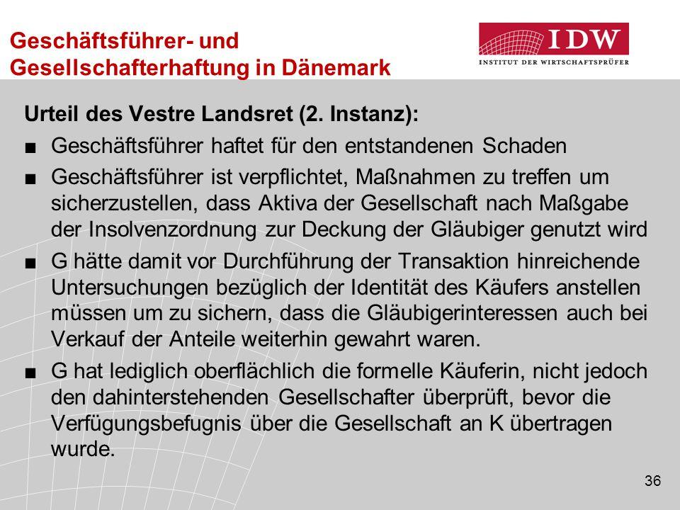 Geschäftsführer- und Gesellschafterhaftung in Dänemark