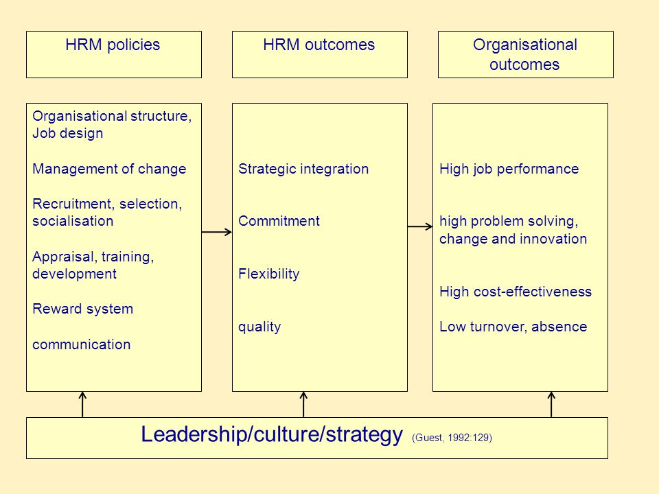 Leadership/culture/strategy (Guest, 1992:129)