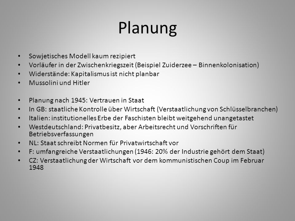 Planung Sowjetisches Modell kaum rezipiert