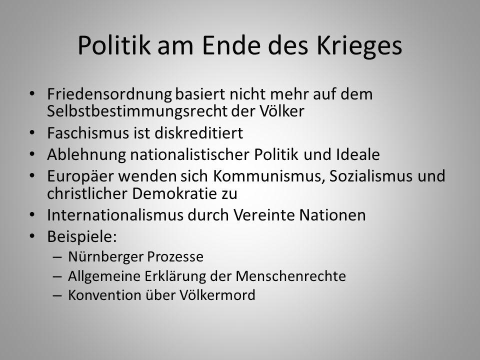 Politik am Ende des Krieges