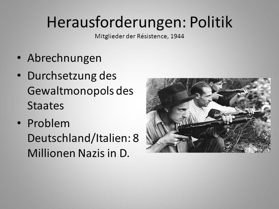 Herausforderungen: Politik Mitglieder der Résistence, 1944