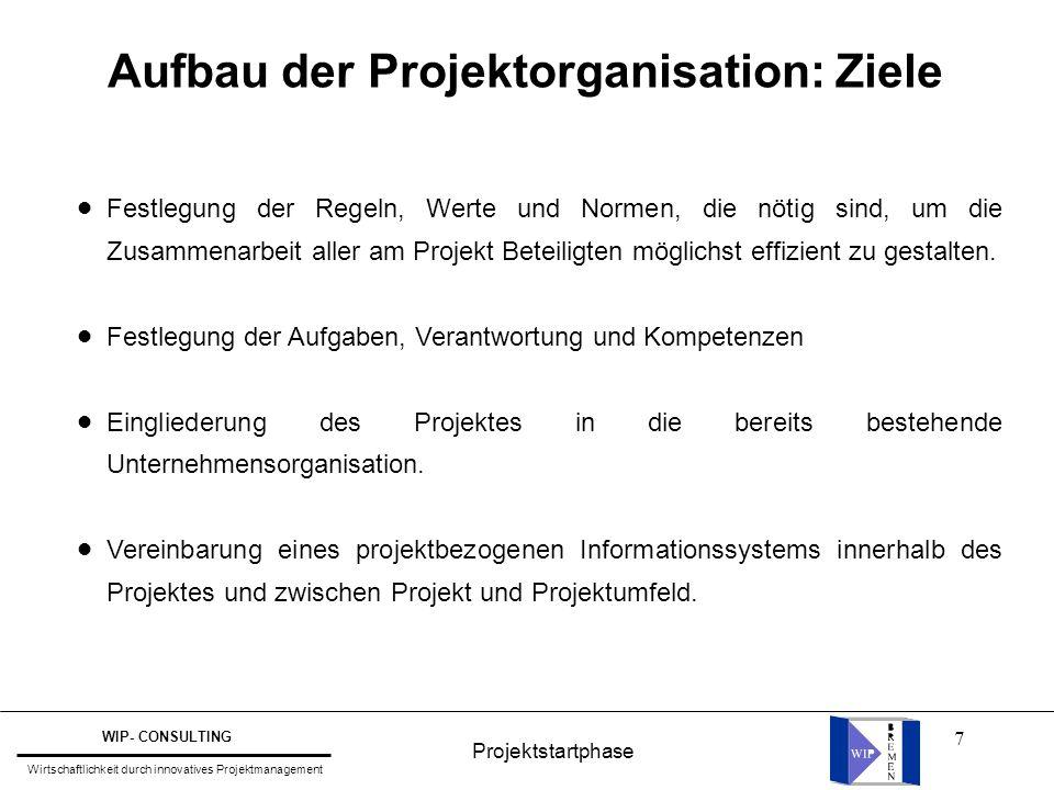 Aufbau der Projektorganisation: Ziele