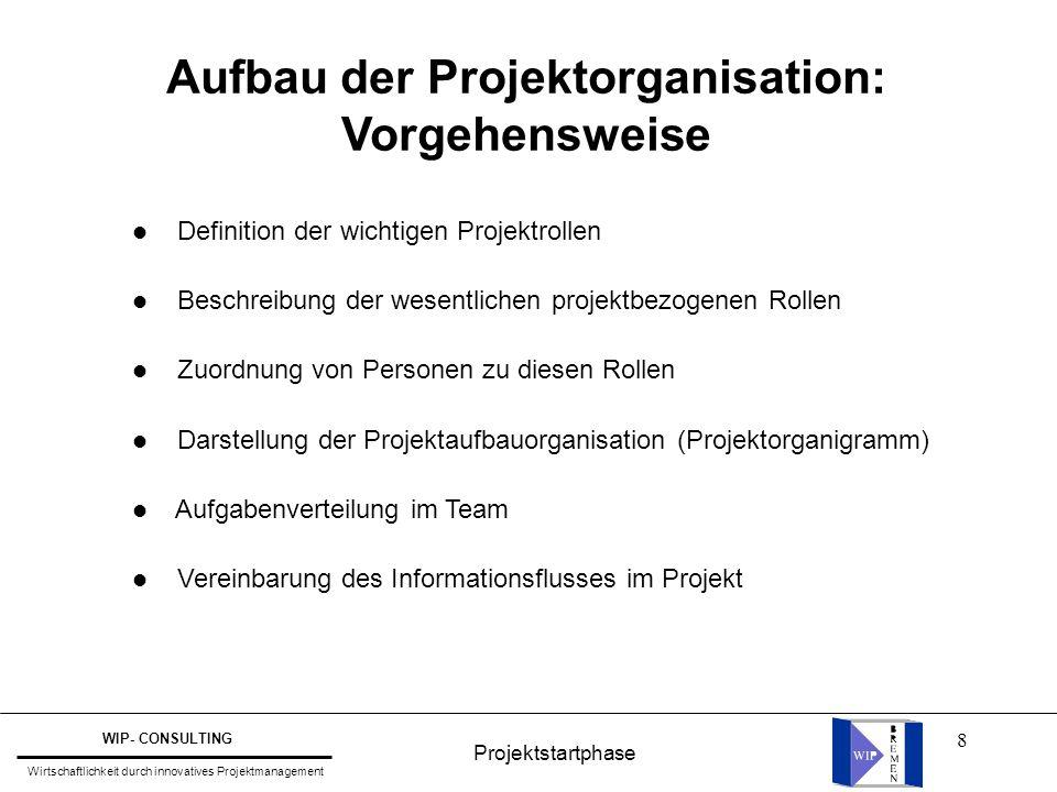 Aufbau der Projektorganisation: