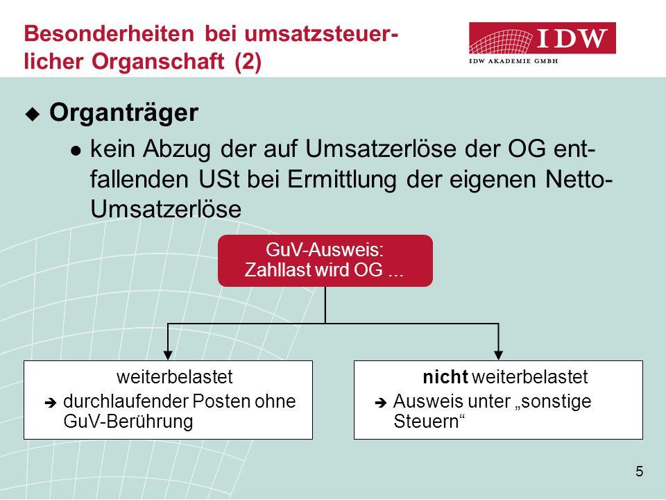Besonderheiten bei umsatzsteuer-licher Organschaft (2)