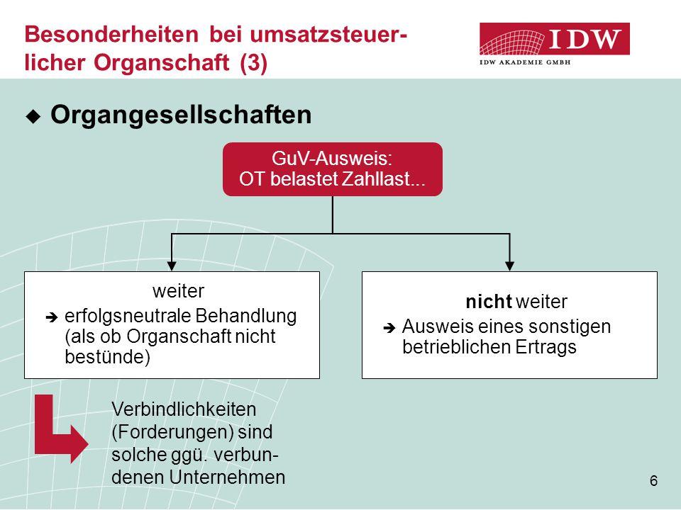 Besonderheiten bei umsatzsteuer-licher Organschaft (3)