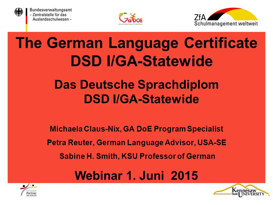 The German Language Certificate DSD I/GA-Statewide