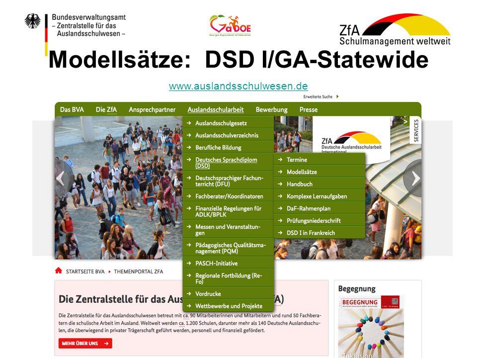 Modellsätze: DSD I/GA-Statewide