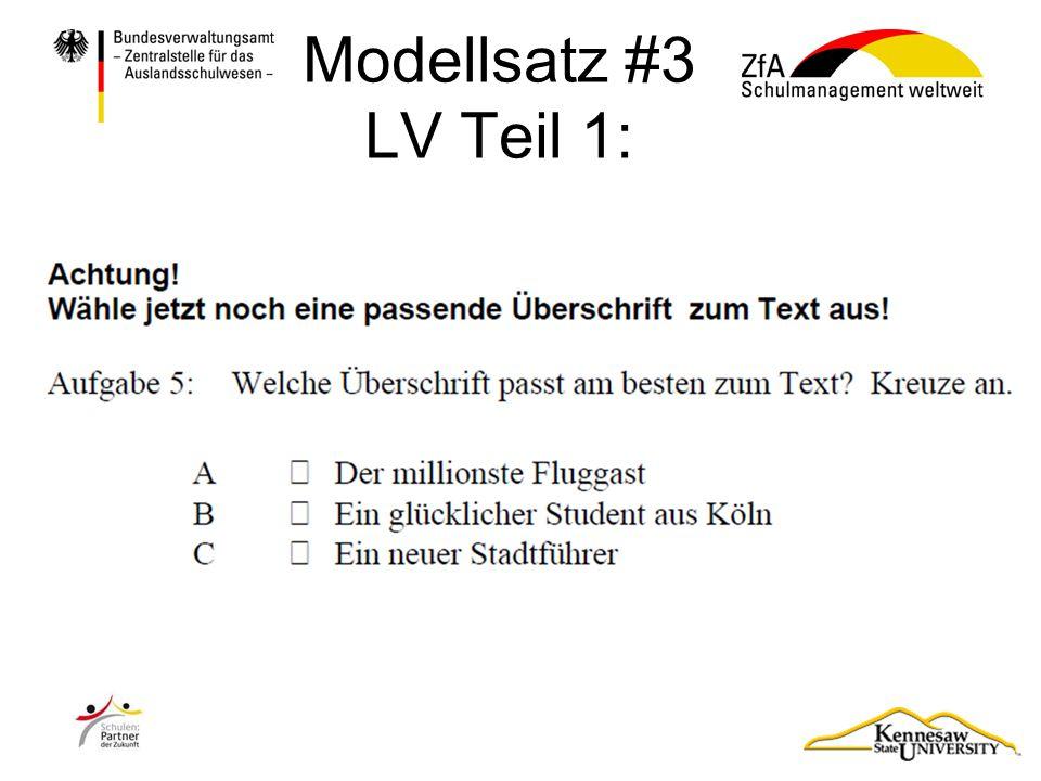 Modellsatz #3 LV Teil 1: