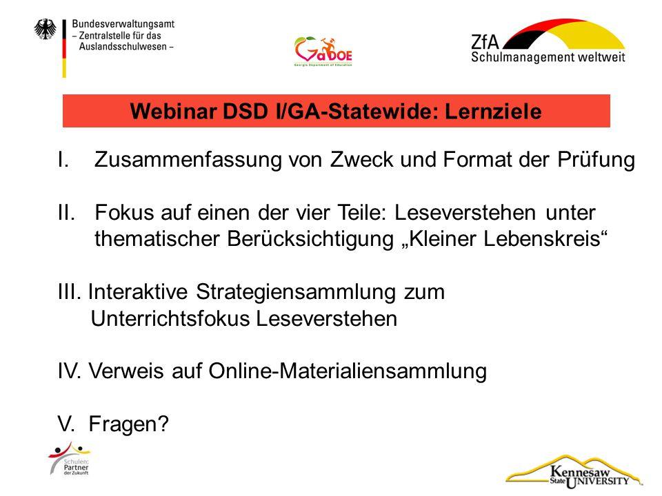 Webinar DSD I/GA-Statewide: Lernziele