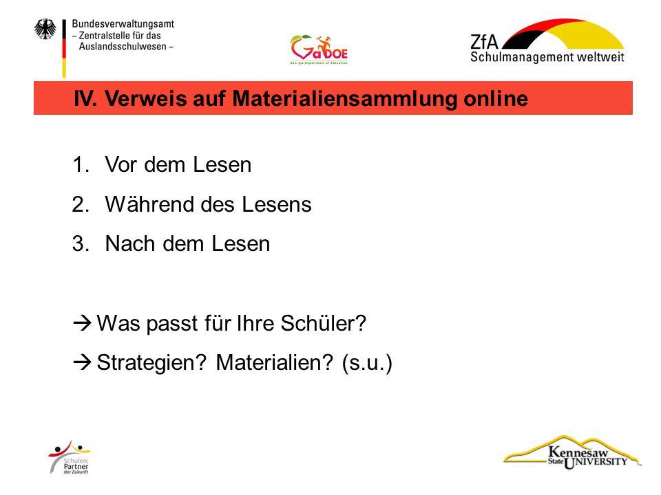 IV. Verweis auf Materialiensammlung online