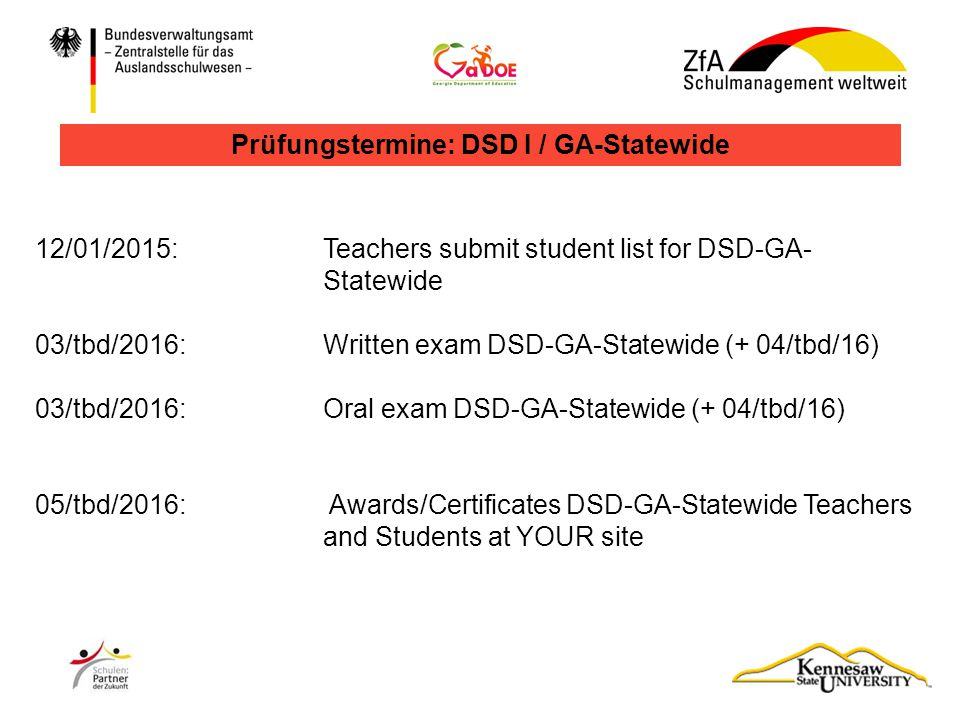 Prüfungstermine: DSD I / GA-Statewide