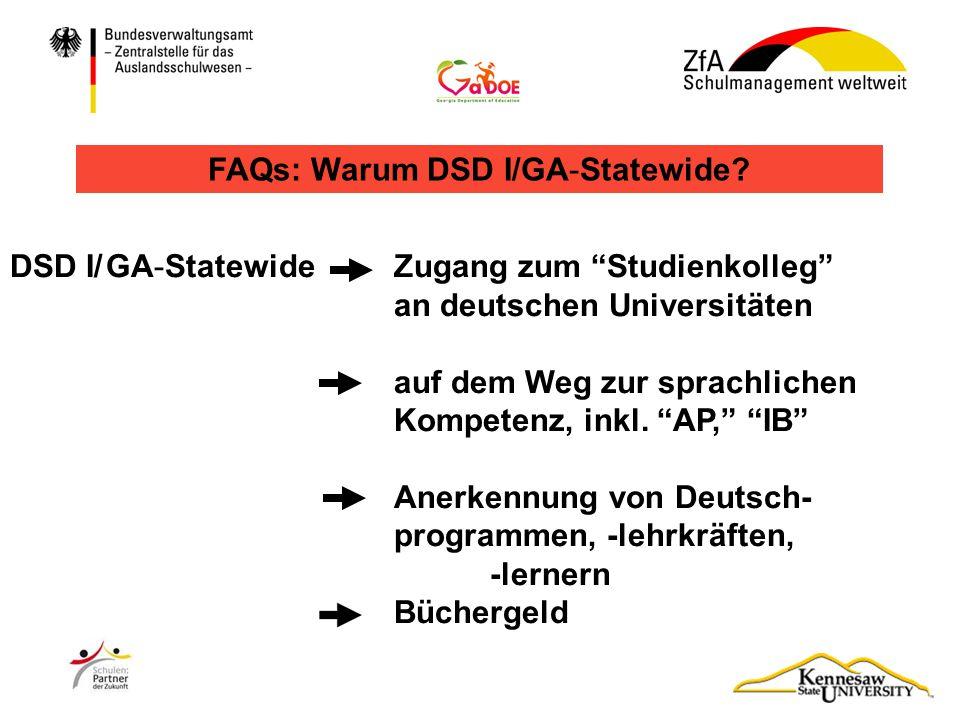 FAQs: Warum DSD I/GA-Statewide