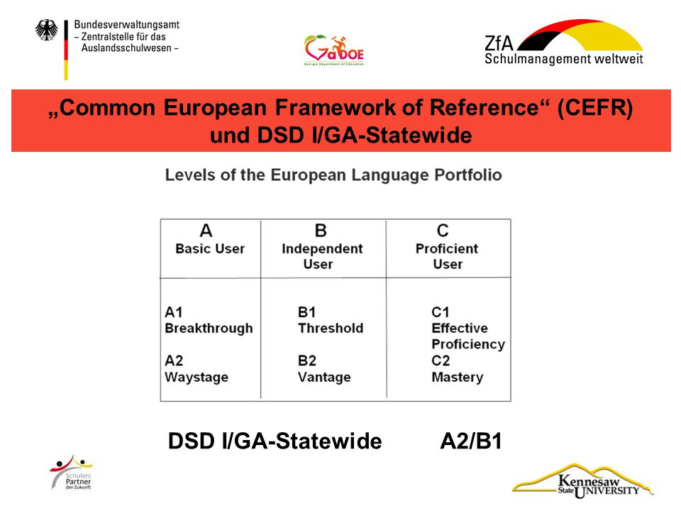 """Common European Framework of Reference (CEFR) und DSD I/GA-Statewide"