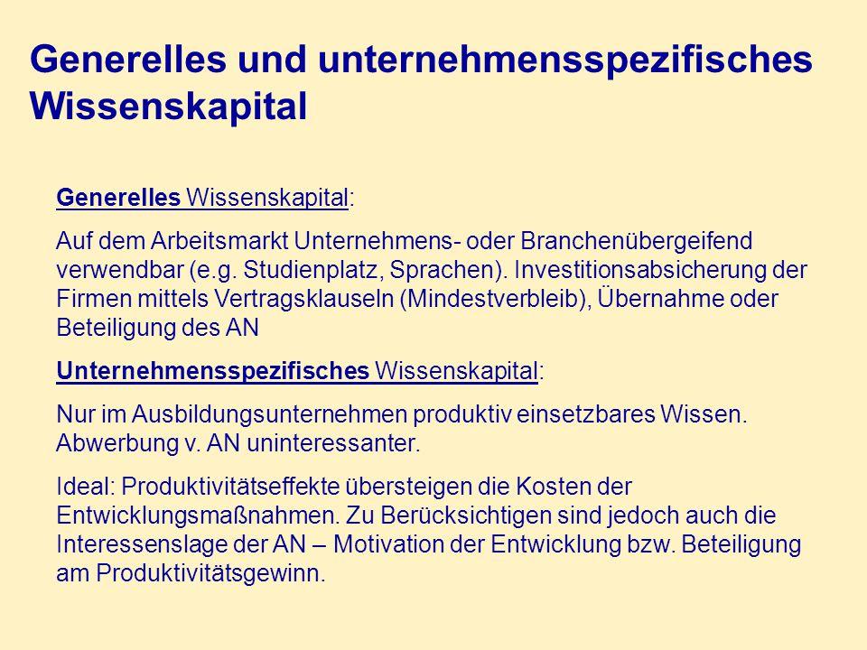 Generelles und unternehmensspezifisches Wissenskapital