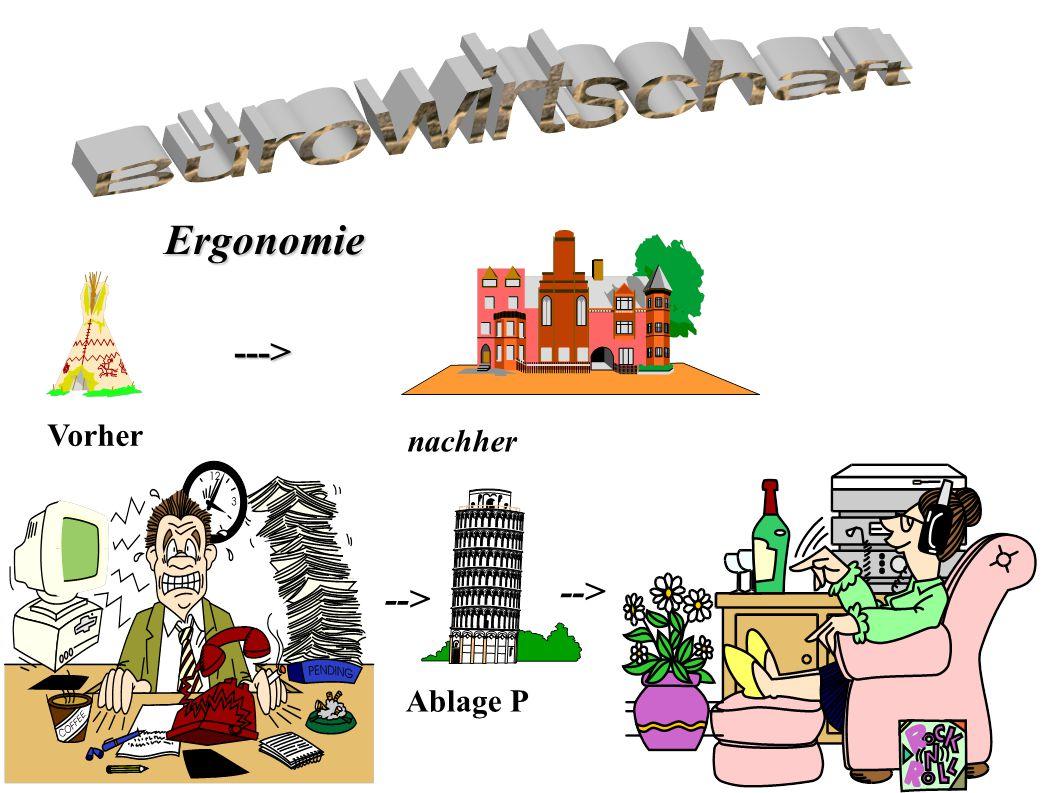 Bürowirtschaft Ergonomie ---> Vorher nachher --> --> Ablage P