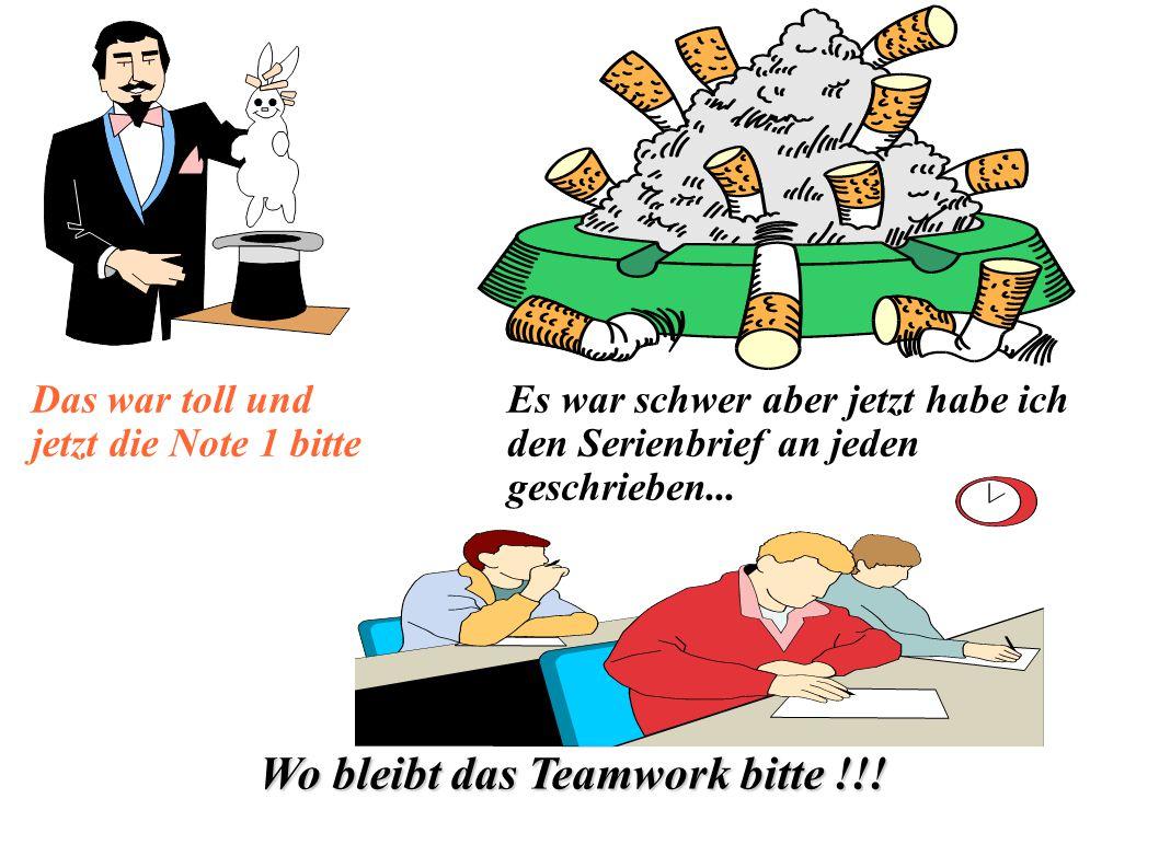 Wo bleibt das Teamwork bitte !!!