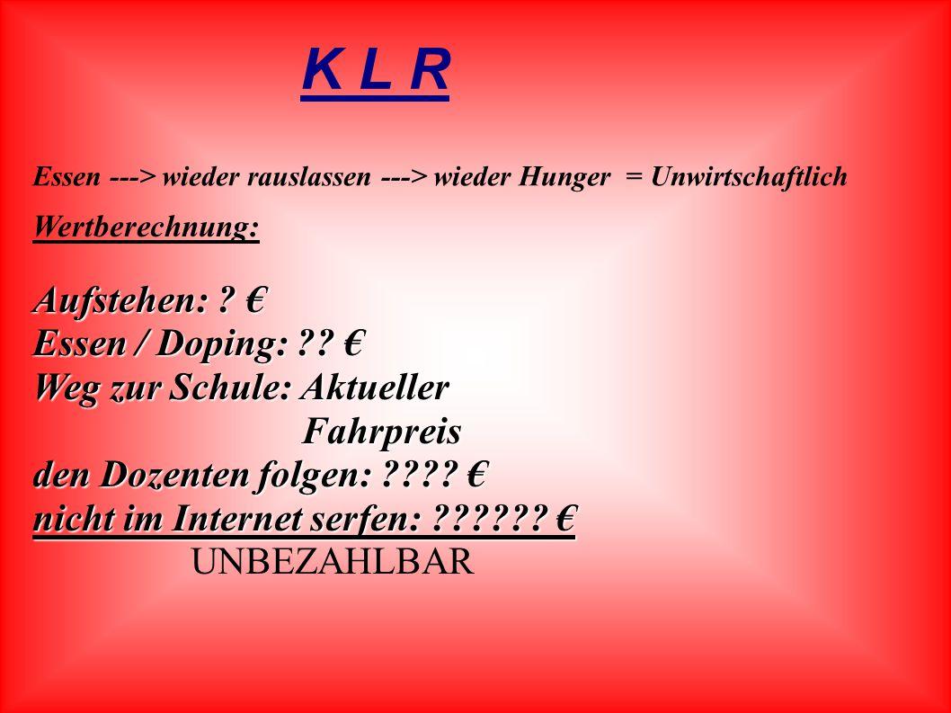 K L R Aufstehen: € Essen / Doping: € Weg zur Schule: Aktueller