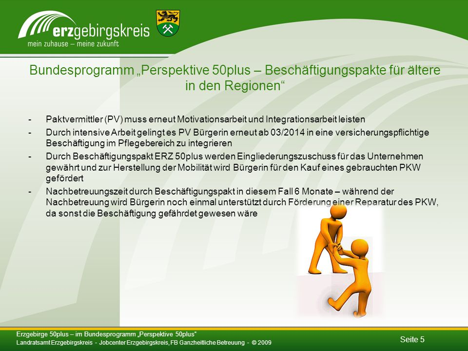 """Bundesprogramm """"Perspektive 50plus – Beschäftigungspakte für ältere in den Regionen"""