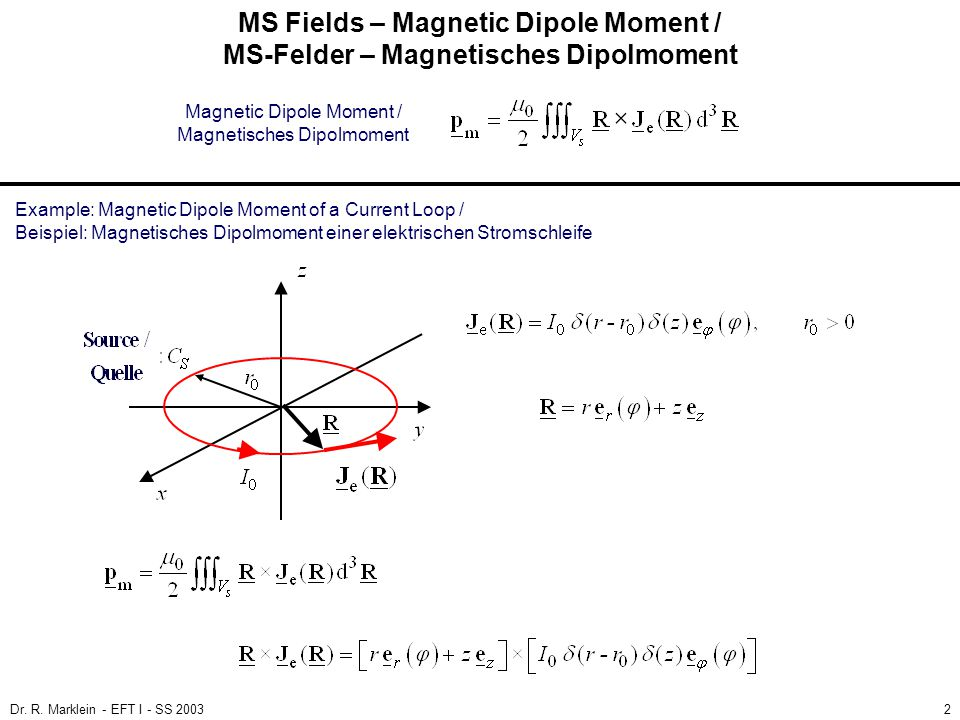 MS Fields – Magnetic Dipole Moment / MS-Felder – Magnetisches Dipolmoment