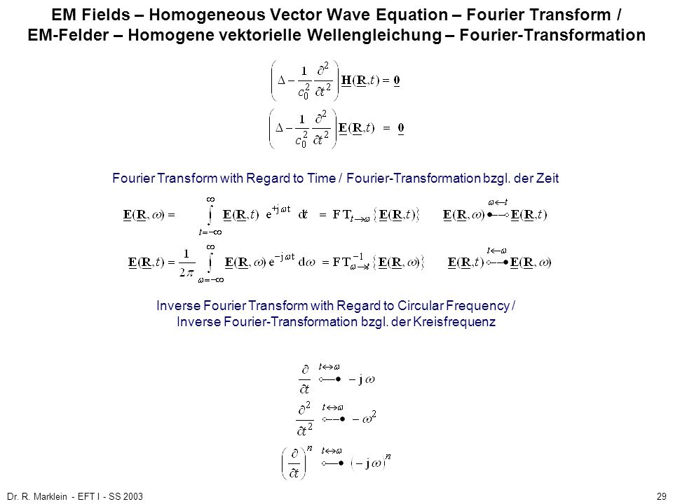 EM Fields – Homogeneous Vector Wave Equation – Fourier Transform / EM-Felder – Homogene vektorielle Wellengleichung – Fourier-Transformation