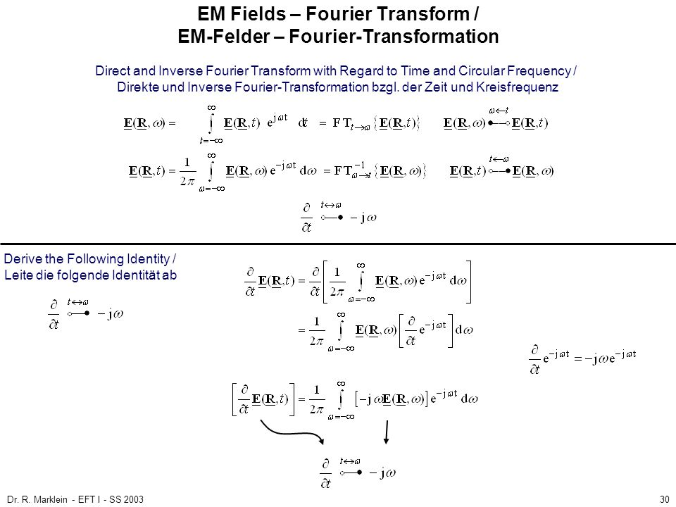 EM Fields – Fourier Transform / EM-Felder – Fourier-Transformation