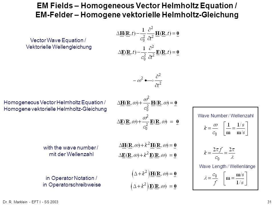EM Fields – Homogeneous Vector Helmholtz Equation / EM-Felder – Homogene vektorielle Helmholtz-Gleichung