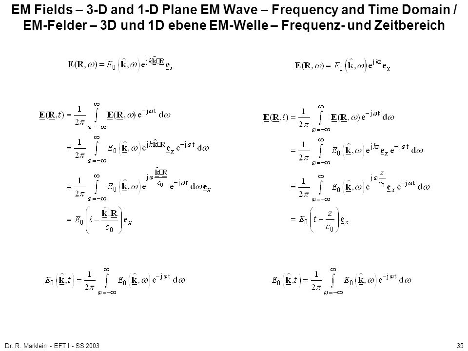 EM Fields – 3-D and 1-D Plane EM Wave – Frequency and Time Domain / EM-Felder – 3D und 1D ebene EM-Welle – Frequenz- und Zeitbereich