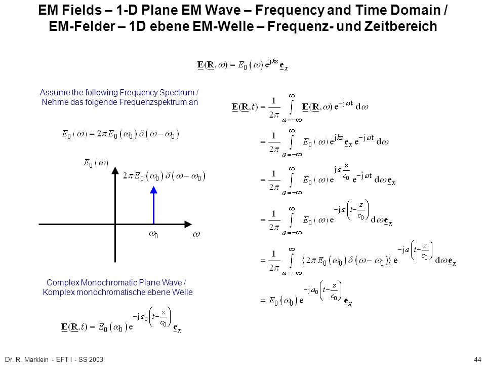 EM Fields – 1-D Plane EM Wave – Frequency and Time Domain / EM-Felder – 1D ebene EM-Welle – Frequenz- und Zeitbereich