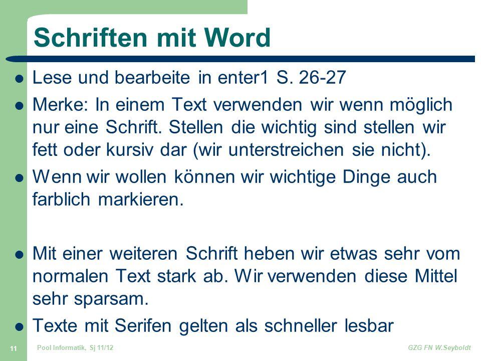 Schriften mit Word Lese und bearbeite in enter1 S. 26-27