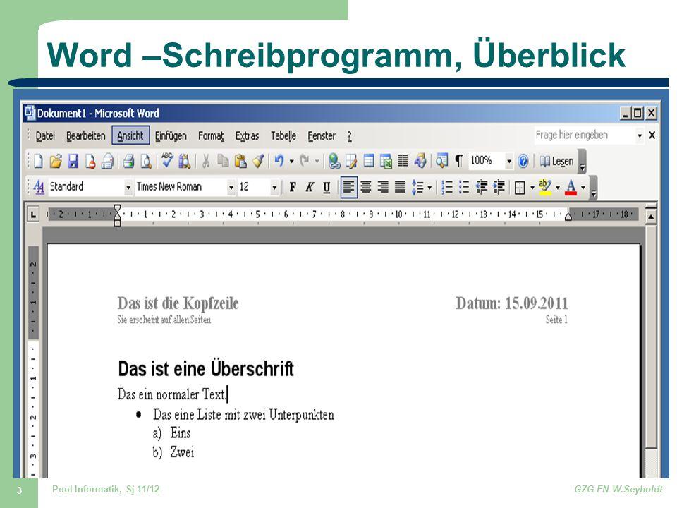 Word –Schreibprogramm, Überblick