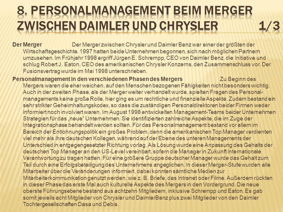 8. Personalmanagement beim Merger zwischen Daimler und Chrysler 1/3