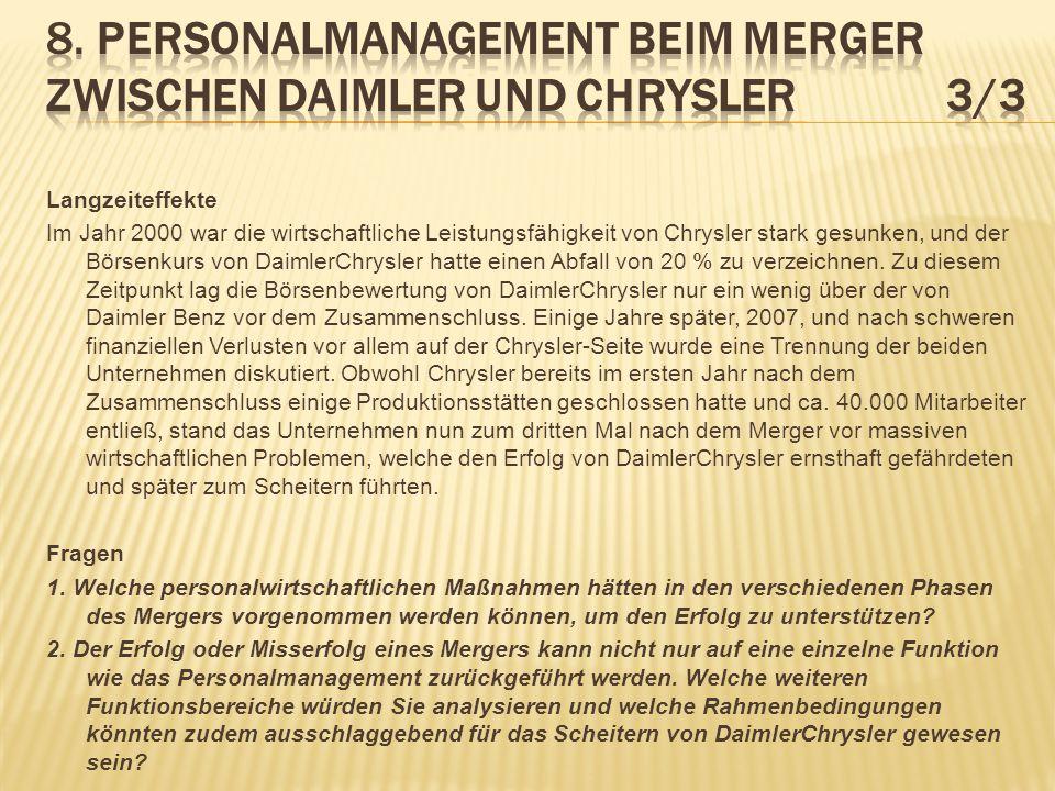 8. Personalmanagement beim Merger zwischen Daimler und Chrysler 3/3