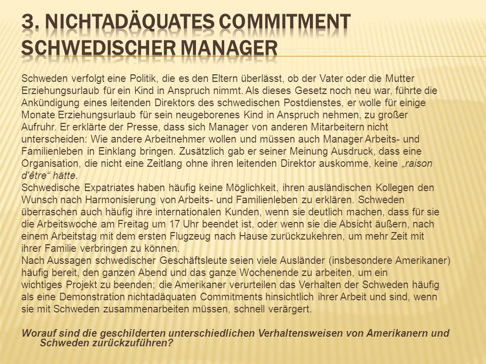 3. Nichtadäquates Commitment schwedischer Manager