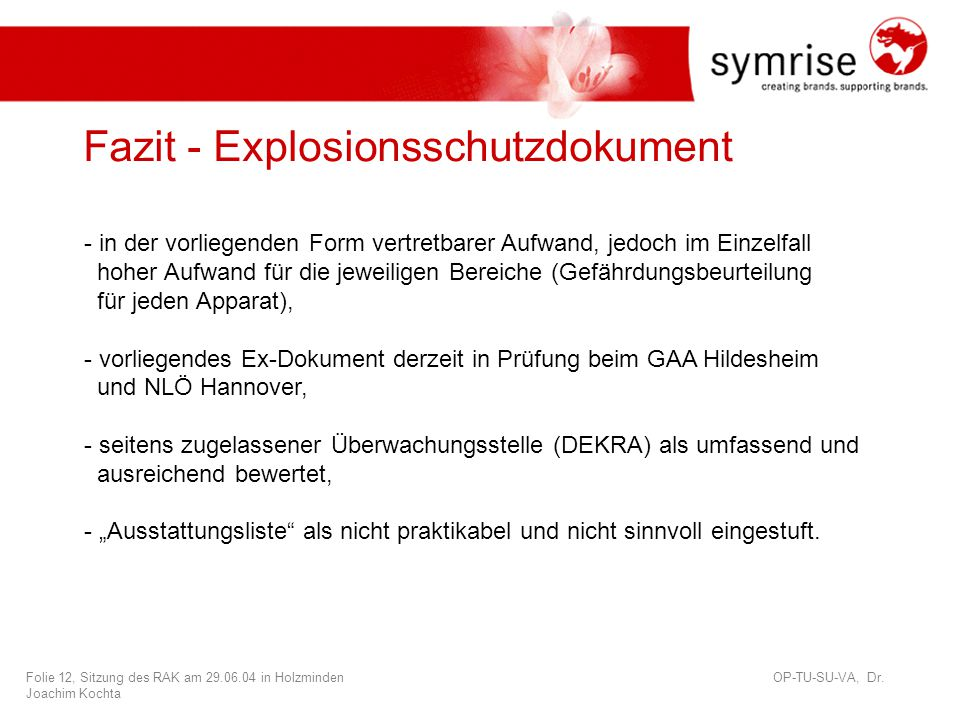 Fazit - Explosionsschutzdokument