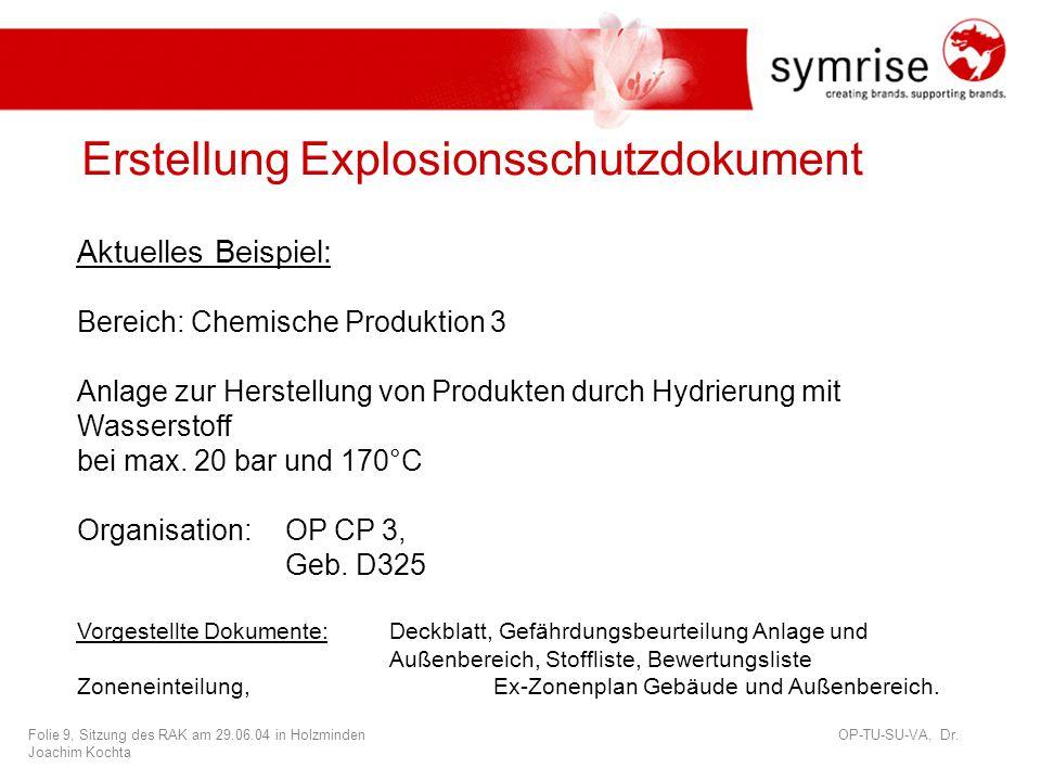 Erstellung Explosionsschutzdokument
