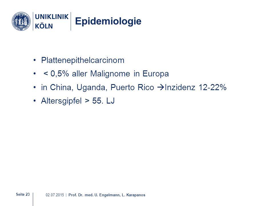 Epidemiologie Plattenepithelcarcinom