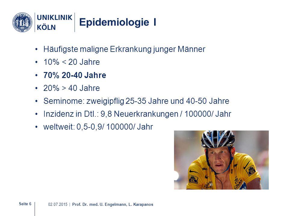 Epidemiologie I Häufigste maligne Erkrankung junger Männer