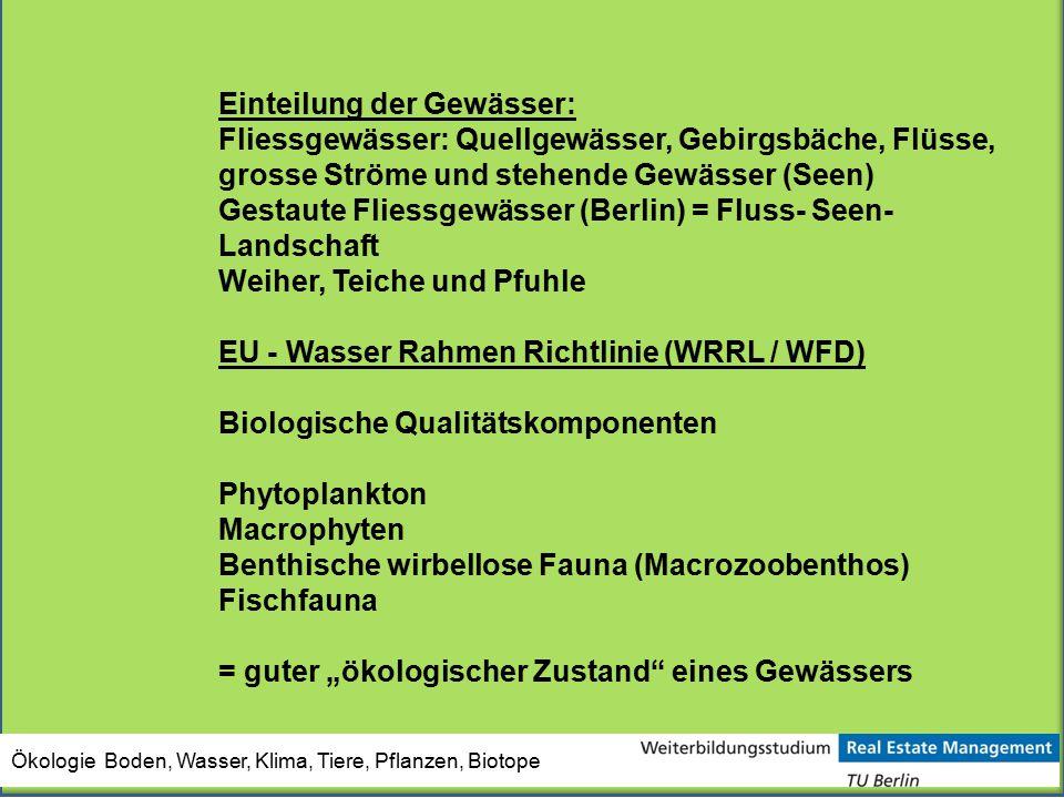 Einteilung der Gewässer: